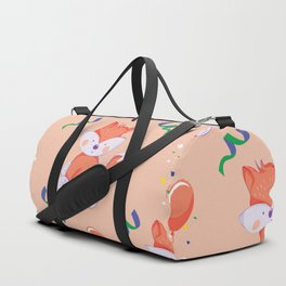 Happy Birthday Orange Fox on Orange Background Pattern Duffle Bag