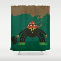 spider man Shower Curtains featuring Spider man by Sklett