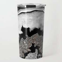 Gray Black White Agate with Silver Glitter #1 #gem #decor #art #society6 Travel Mug