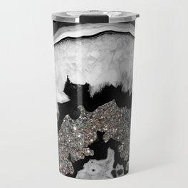 Gray Black White Agate with Silver Glitter #1 #gem #decor #art #society6 Travel Mug