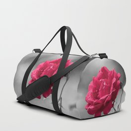 Red rose on monochromatic background Duffle Bag
