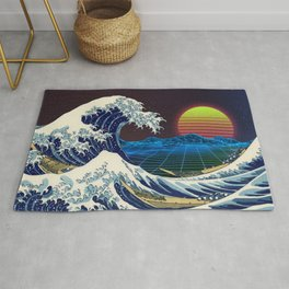 Synthwave Space #9: The Great Wave off Kanagawa Rug