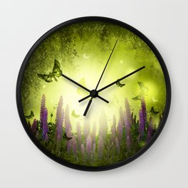 """Forest, flowers and butterflies"" Wall Clock"
