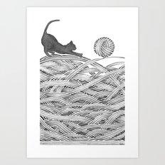 Black cat, kitty watercolor Art Print