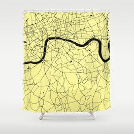London Yellow on Black Street Map Shower Curtain