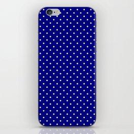Mini White Polkadots on Dark Navy Blue iPhone Skin