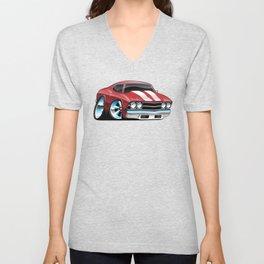 Sixties American Classic Muscle Car Cartoon Unisex V-Neck