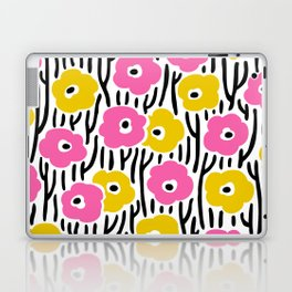 Mid Century Modern Wild Flowers Pattern Pink and Yellow Laptop & iPad Skin