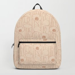 Poppies Field, Floral Hand-drawn Pattern, Rose-gold Texture  Backpack