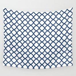 Lattice White on Navy Wall Tapestry