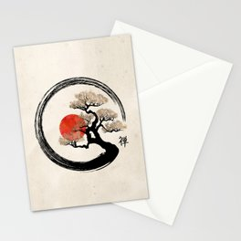 Enso Circle and Bonsai Tree on Canvas Stationery Cards