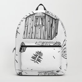 scandinavian houses with grass on the roof seamless pattern on white background Backpack