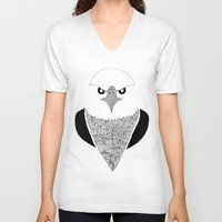 eagle V-neck T-shirts featuring Eagle by Art & Be
