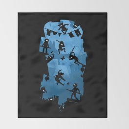 Ninja Kick Ass Clash Throw Blanket