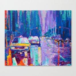 Streets of New York #2 - Palette Knife Contemporary Urban City Landscape by Adriana Dziuba Canvas Print