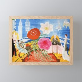 Red Poppies, Calla Lilies, Peonies & NYC Family Portrait by Florine Stettheimer Framed Mini Art Print