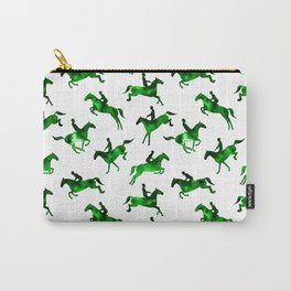 Watercolor Showjumping Horses (Green) Carry-All Pouch