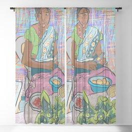 Sri Lanka woman selling beetle nut Sheer Curtain