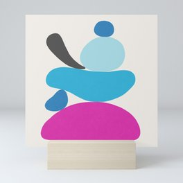 Turquoise & Hot Pink Scoop \\ Abstract Mini Art Print