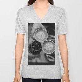 Coffee Friendship (Black and White) Unisex V-Neck