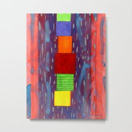 Colorful piled Cubes within free Painting Metal Print