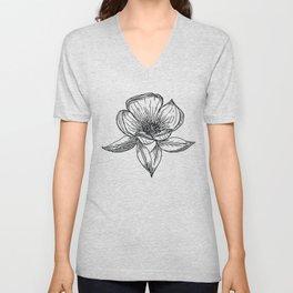 Black & White Modern Floral Pattern Unisex V-Neck