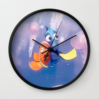 finding nemo Wall Clocks featuring Finding Nemo by Max Jones