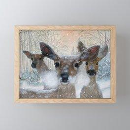 Deer in the Snowy Woods Framed Mini Art Print