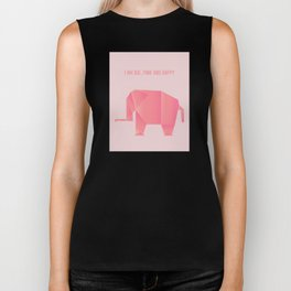 Big, Happy Elephant - Origami Pink Elephant Biker Tank
