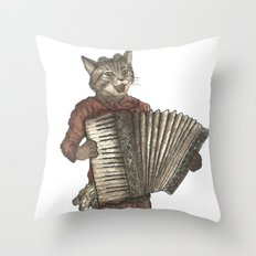 Accordion Cat with Goggles and Mask Throw Pillow