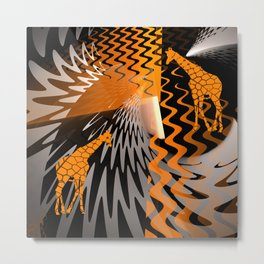 bstract waves and Zebra Metal Print