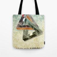 escher Tote Bags featuring escher hitch by Vin Zzep