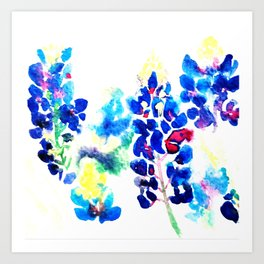 Abstract Bluebonnets Art Print