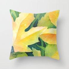 Bright leaf study Throw Pillow