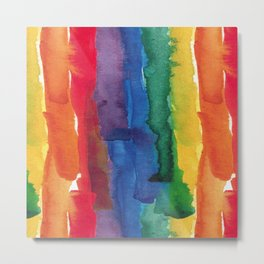 rainbow watercolor Metal Print