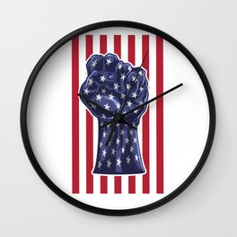 American Fist Flag Stars and Stripes Wall Clock