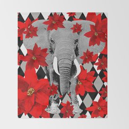 POINSETTIAS ELEPHANTS AND HARLEQUINS OH MY Throw Blanket