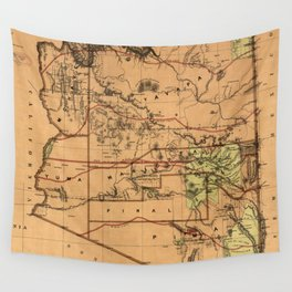 Vintage Map of Arizona (1876) Wall Tapestry