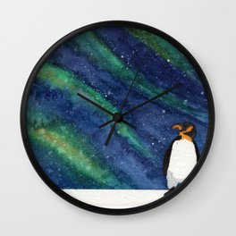 Penguin with Southern Lights Wall Clock