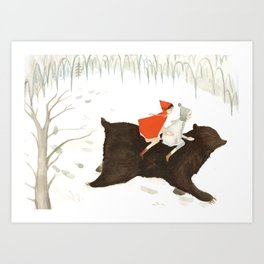 Bear's Escape in the Snow Art Print