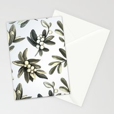 Pattern with mistletoe branches.  Watercolor Stationery Cards