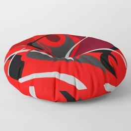 upstream red black grey abstract digital painting Floor Pillow