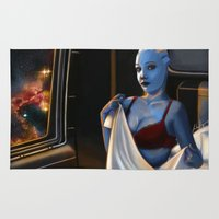 mass effect Area & Throw Rugs featuring Mass Effect - Red Lingerie by Amber Hague