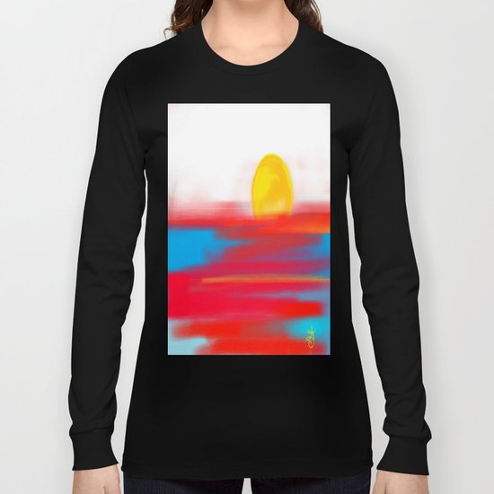 Sketchy Sun and Sea. Sunset and Sunrise Sketch Long Sleeve T-shirt