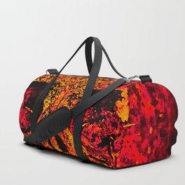 skull on gravestone splatter watercolor red edgy ember Duffle Bag
