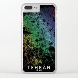 Tehran, Iran, City, Map, Rainbow, Map, Art, Print Clear iPhone Case