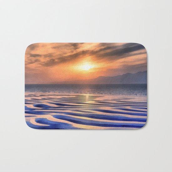 Sunset at high tide Bath Mat