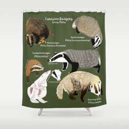Badgers Meles Genus Poster Shower Curtain