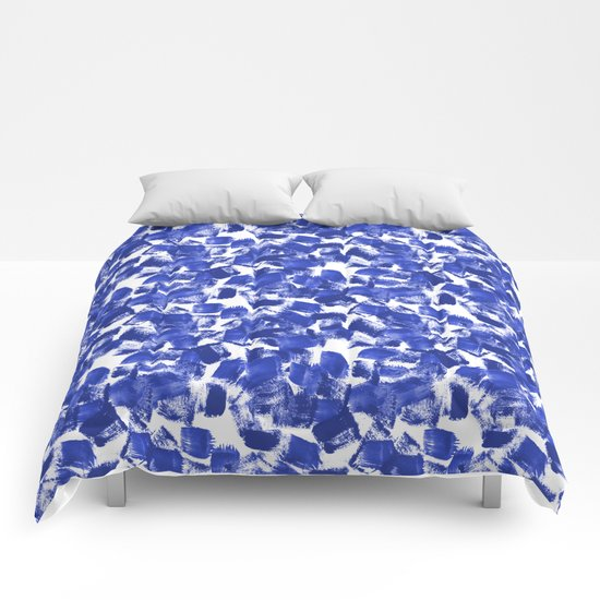 Azia - bright blue painterly abstract brushstrokes painting trendy minimal modern monochrome indigo Comforters