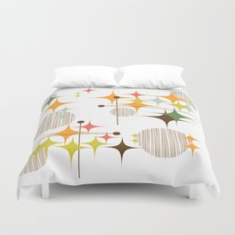 Mid Century Modern Starbursts and Globes 3 Duvet Cover